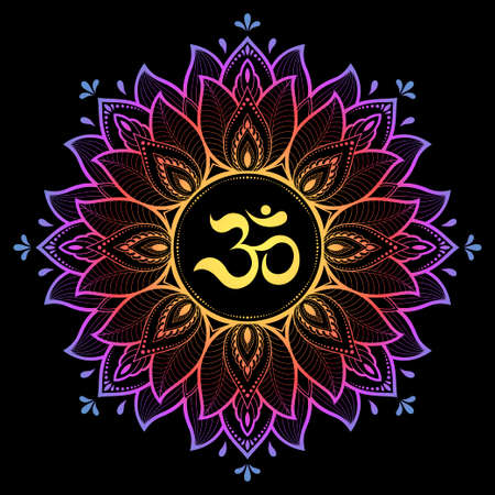 Color Circular pattern in form of mandala with ancient Hindu mantra OM and lotus flower for Henna, Mehndi, decoration. Decorative ornament in oriental style. Rainbow design on black background. 向量圖像