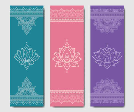 Set of design yoga mats. Lotus floral and mandala pattern in oriental style for decoration sport equipment. Colorful ethnic Indian ornaments for spiritual serenity. Decor of card, poster, print. 向量圖像