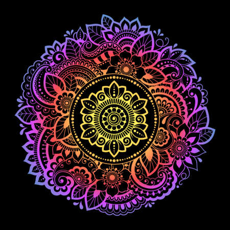 Color circular pattern in form of mandala with flower for decoration or print. Decorative ornament in ethnic oriental style. Rainbow design on black background.
