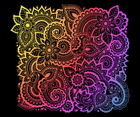 Colorful floral pattern for Mehndi and Henna drawing. Hand-draw ornament. Decoration in ethnic oriental, Indian style. Rainbow design on black background. 向量圖像