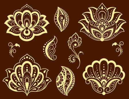 Set of Mehndi flower and lotus pattern for Henna drawing and tattoo. Decoration in ethnic oriental, Indian style. Doodle ornament. Outline hand draw vector illustration.