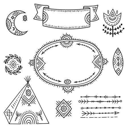 The set of decorative elements is stylized as children's drawing in the Scandinavian style. Funny cartoon kids coloring book. Folk art. Flower, moon, arrows, frame for an inscription or explanation. 向量圖像