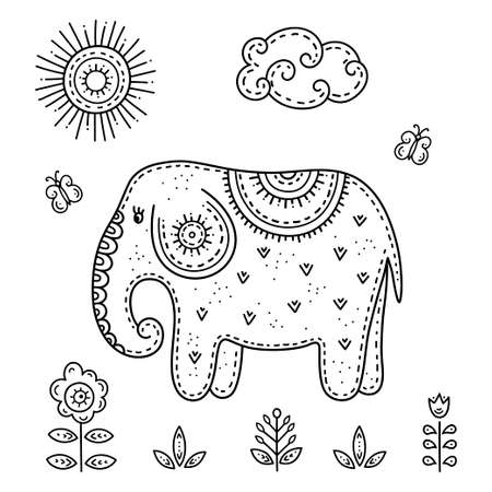 Funny cartoon children coloring book. Elephant with butterflies in a meadow surrounded by flowers on a Sunny day. Kids drawing in the Scandinavian style. Folk art.