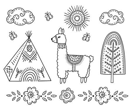Funny cartoon children's coloring book. A Lama near an Indian Teepee house, a tree among flowers and butterflies under the sun and clouds. Kids drawing in the Scandinavian style. Folk art. 向量圖像
