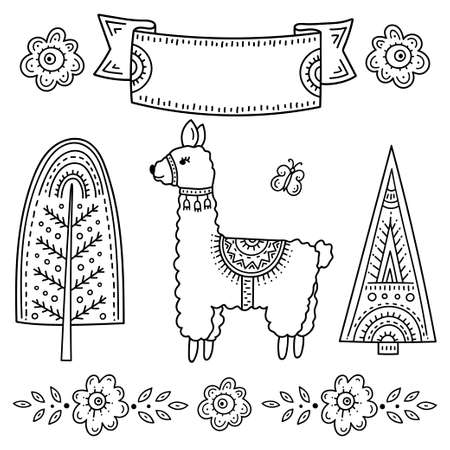 Funny cartoon children's coloring book. Llama with a butterfly surrounded by trees and flowers. Kids drawing in the Scandinavian style. Folk art. Frame for an inscription or explanation.