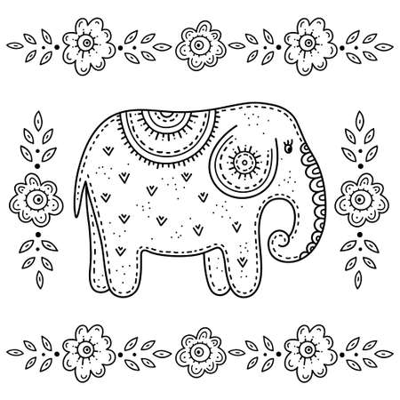 Funny cartoon children's coloring book. Elephant surrounded by flowers. Children's drawing in the Scandinavian style. Folk art.