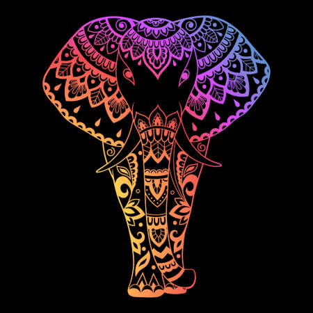 Elephant made a floral pattern with Oriental ornaments. Hand drawn decorative animal in Doodle style. Colored rainbow decoration on black background 向量圖像