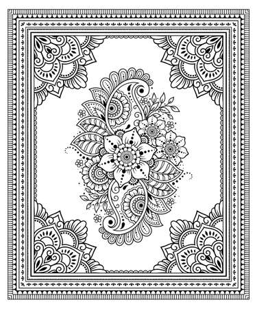 Stylized with henna tattoo decorative pattern. Flower and border in mehndi style.