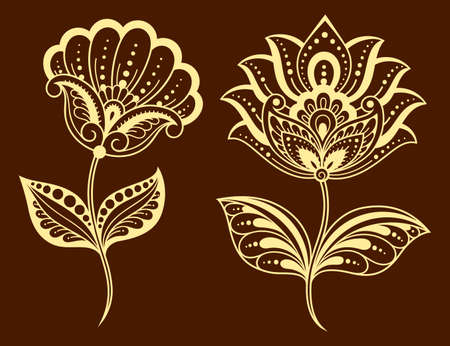 Set of Mehndi flower pattern for Henna drawing and tattoo. Decoration in ethnic oriental, Indian style. Doodle ornament. Outline hand draw  illustration.