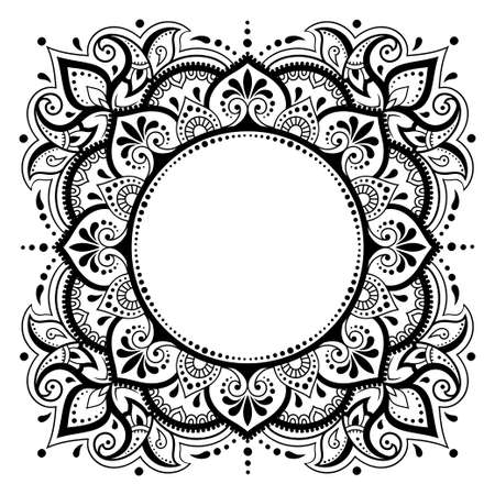 Frame in eastern tradition. Stylized with henna tattoos decorative pattern for decorating covers for book, notebook, casket, magazine, postcard and folder. Flower mandala in mehndi style. Vetores