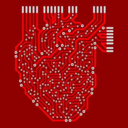 The human heart in the form of an electronic circuit. The decorative pattern is stylized as a green electric circuit Board.