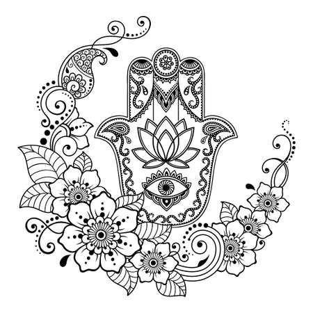 Hamsa hand drawn symbol with Lotus flower. Decorative pattern in oriental style for interior decoration and henna drawings. The ancient sign of