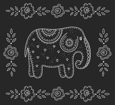 Funny cartoon kid's folk art. Elephant surrounded by flowers. Children's drawing in the Scandinavian style. Stylization of chalk drawing. 矢量图像