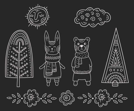 Funny cartoon children's coloring. Bear and rabbit in the forest among the trees under the smiling sun and clouds. Scandinavian style kis's of chalk drawing.