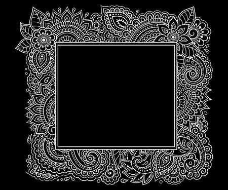 Stylized with henna tattoos decorative pattern for decorating covers for book, notebook, casket, magazine, postcard and folder. Flower in mehndi style. Frame in the eastern tradition. 矢量图像
