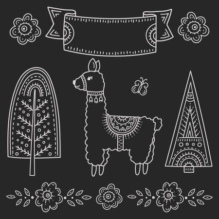 Funny cartoon children drawing in the Scandinavian style. Lama with a butterfly surrounded by trees and flowers. Kids's folk art is stylized chalk pattern. Frame for an inscription or explanation.