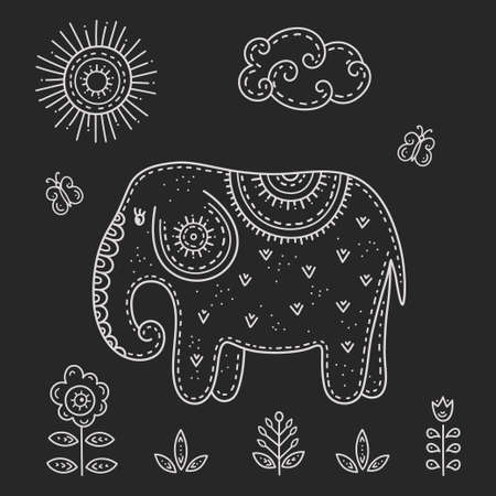 Funny cartoon children drawing in the Scandinavian style. Elephant with butterflies in a meadow surrounded by flowers on a Sunny day. Kids's folk art is stylized the chalk pattern.