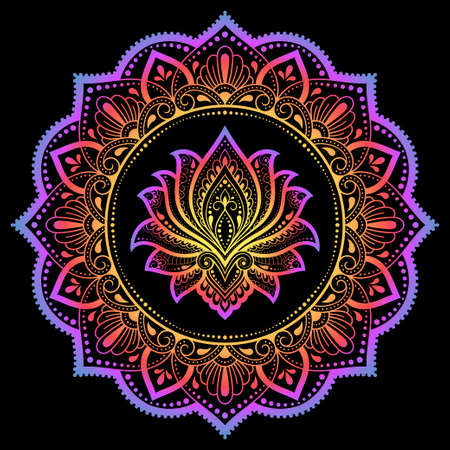 Circular pattern in form of mandala with lotus flower for Henna, Mehndi, tattoo, decoration. Decorative ornament in ethnic oriental style. Rainbow design on black background.