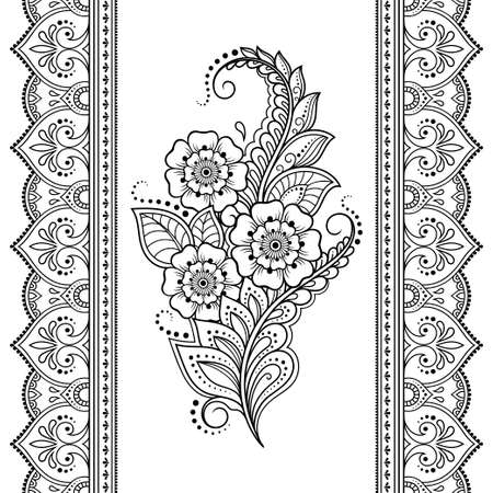Seamless pattern of mehndi flower and border for Henna drawing and tattoo. Decorative doodle ornament in ethnic oriental, Indian style. Outline hand draw vector illustration.