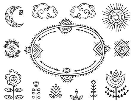 The set of decorative elements is stylized as children's drawing in the Scandinavian style. Funny cartoon kids coloring book. Folk art. Flower, moon, arrows, frame for an inscription or explanation. 矢量图像