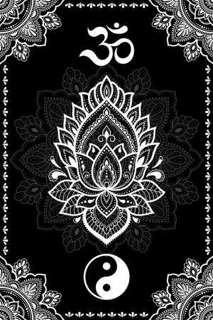 Set of Eastern ethnic religious symbols. Mandala, Lotus flower, OM mantra and Yin Yang. Decorative pattern for henna, mehndi, tattoos, room decoration. Outline doodle vector illustration. 矢量图像