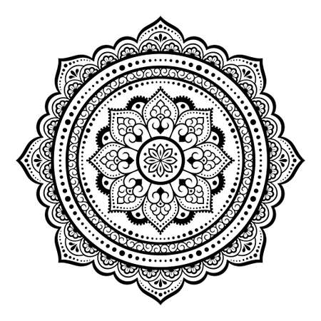 Circular pattern in form of mandala with flower for Henna, Mehndi, tattoo, decoration. Decorative ornament in ethnic oriental style. Outline doodle hand draw vector illustration. Coloring book page.