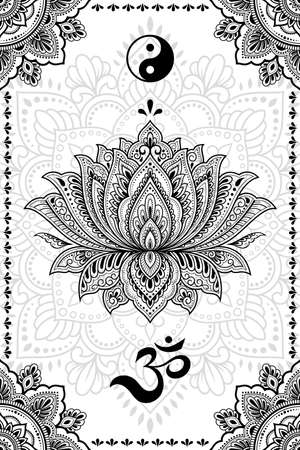Set of Eastern ethnic religious symbols. Mandala with OM mantra, Yin Yang, Lotus flower. Decorative pattern for henna, mehndi, tattoos, room decoration. Outline doodle vector illustration. 矢量图像