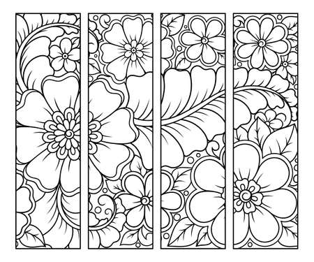 Bookmark for book - coloring. Set of black and white labels with floral doodle patterns, hand draw in mehndi style. Sketch of ornaments for creativity of children and adults with colored pencils.