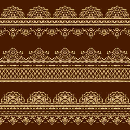 Set of Seamless borders pattern for Mehndi, Henna drawing and tattoo. Decoration in ethnic oriental, Indian style. Doodle ornament. Outline hand draw vector illustration.