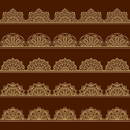 Set of Seamless borders pattern for Mehndi, Henna drawing and tattoo. Decoration in ethnic oriental, Indian style. Doodle ornament. Outline hand draw vector illustration. Vecteurs