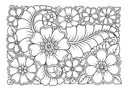 Outline floral pattern in mehndi style for coloring book page. Antistress for adults and children. Doodle ornament in black and white. Hand draw vector illustration.