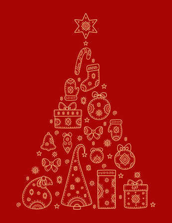 Christmas and New year greetings. Decorative pattern in form of a Christmas tree of holiday symbols. Snowman, gift, deer, mitten, ball, stocking, bell, snowflake and other signs. Gold pattern on Red. Vectores