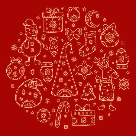 Christmas and New year greetings. Round decorative pattern made of holiday symbols. Snowman, gift, Christmas tree, deer, mitten, ball, stocking, bell, snowflake and other signs. Gold pattern on red.