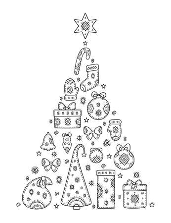 Christmas and New year greetings. Decorative pattern in form of a Christmas tree of holiday symbols. Snowman, gift, deer, mitten, ball, stocking, bell, snowflake and other signs. Coloring book page. 矢量图像