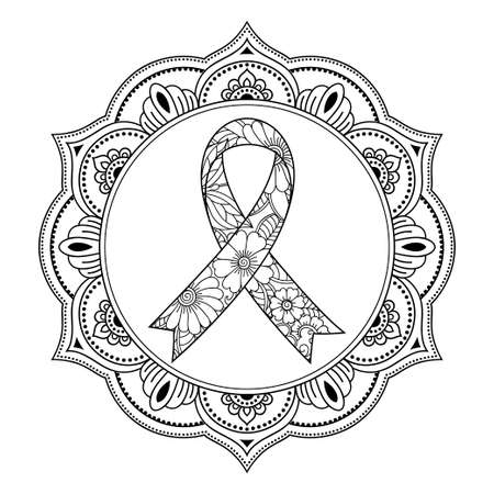 Poster of breast cancer awareness month. Circular floral pattern with a ribbon symbol in mehndi style.