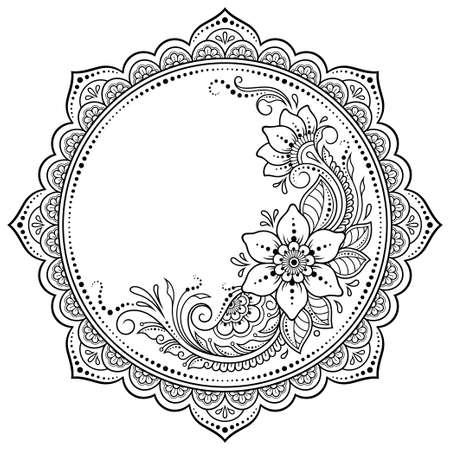 Circular pattern in form of mandala with flower for Henna, Mehndi, tattoo, decoration. Decorative ornament in ethnic oriental style. Outline doodle hand draw vector illustration.