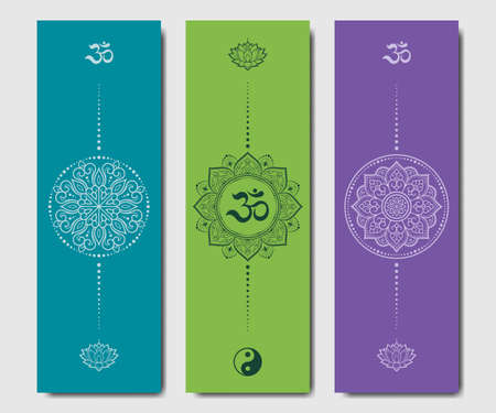 Set of design yoga mats. Lotus floral pattern, OM and Yin-yang in oriental style for decoration sport equipment. Colorful ethnic Indian ornaments for spiritual serenity. 矢量图像