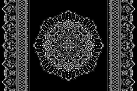 Set of mandala pattern and seamless border for Henna drawing and tattoo. Decoration in ethnic oriental mehndi, Indian style. Doodle ornament in black and white. Hand draw vector illustration.