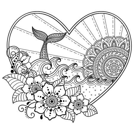Whale diving into sea against the sunset in frame in heart shaped. Ocean landscape with waves, mandala in form of sun, fish tail. Coloring book page for children and adults. Vectores