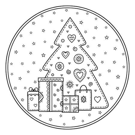 Christmas and New year greetings. Set of decorative pattern made of holiday symbols. Christmas tree, gifts, bag, snowflakes and stars. Coloring book page.