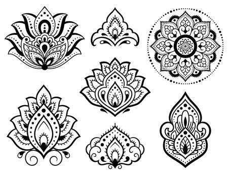 Set of Mehndi flower pattern and mandala for Henna drawing and tattoo. Decoration in ethnic oriental, Indian style. Doodle ornament. Outline hand draw vector illustration. Vecteurs