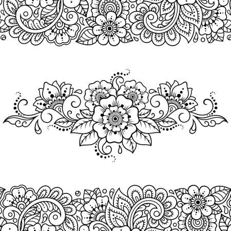 Set of Mehndi flower pattern and mandala for Henna drawing and tattoo. Decoration in ethnic oriental, Indian style. Doodle ornament. Outline hand draw vector illustration.
