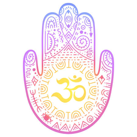 Colorful Hamsa hand drawn symbol with OM. Decorative pattern in oriental style for interior decoration and henna drawings. The ancient sign of