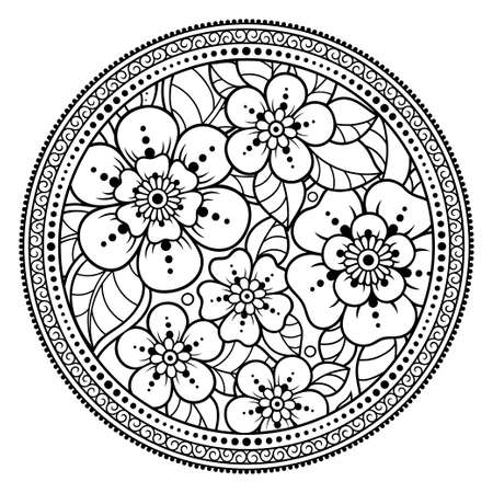 Circular pattern in form of mandala with flower for Henna, Mehndi, tattoo, decoration. Decorative ornament in ethnic oriental style. Outline doodle hand draw vector illustration. Coloring book page. Vectores