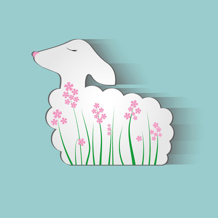 animal small pattern nature wool beautiful ewe Vector