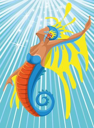 mermaid girl sea marine life seahorse Vector