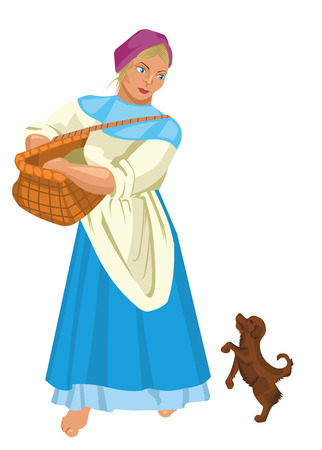 peasant woman: village resident with a basket and a dog