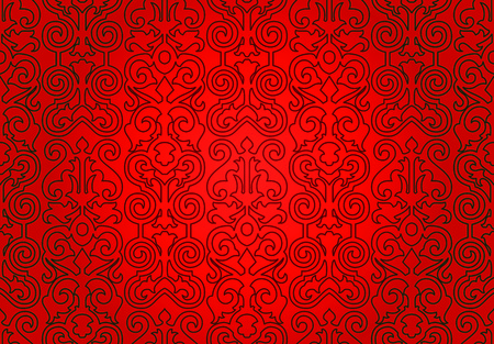 Seamless wallpaper pattern, red  Retro ornament  Vector