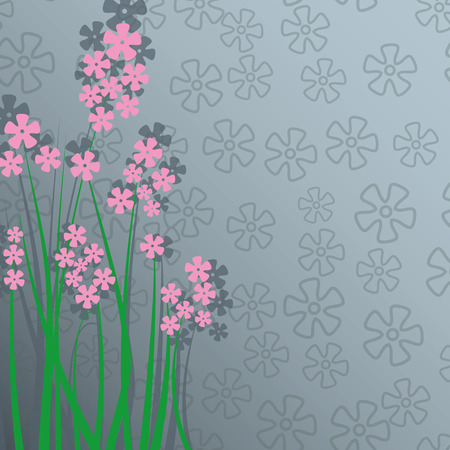 Greeting card with pink flowers and place for text Vector