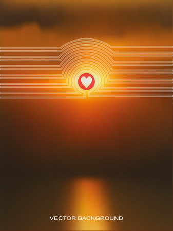 design media love: Vector web and mobile interface template  Corporate website design  Minimalist multifunctional media backdrop  Editable  Blurred  Badge, label, sunset, heart, love
